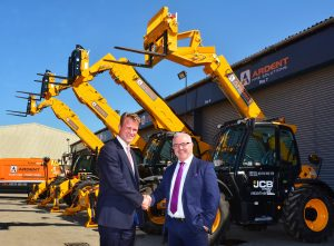 Watling JCB MD Richard Telfer (left) shakes on the deal with Tom Gleeson, Ardent Hire Solutions' Commercial Director
